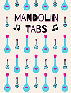 Mandolin Tabs: Stylish Blank Sheet Music Notebook with Pretty Pink & Blue Mandolins Pattern | Learn How to Play Mandolin Songs & Chords | Write Down ... Write in | Blank Sheet Music Paper Tablature