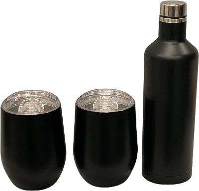 Spirit Wine Bundle - 2 12oz Wine Tumbler Glasses with Lids & 1 25 oz Wine Bottle - Vacuum Insulated (Black)