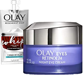Olay Regenerist Retinol Eye Cream, Retinol 24 Night Eye Cream, 0.5oz + Whip Face Moisturizer Travel/Trial S...