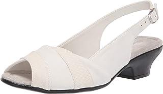 Easy Street Women's Block Heel Sandal Heeled, White, 6.5