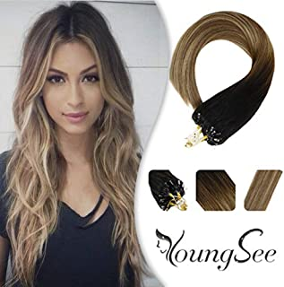Youngsee 14inch Micro Ring Hair Extensions Human Hair Ombre Balayage Darkest Brown to Chestnut Medium Brown Mixed Light Gloden Blonde Micro Link Loop Hair Extensions 1g/50g