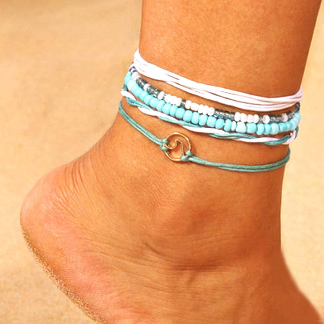 Chicque Bohemian Wave Anklet Set Turquoise Bead Foot Jewelry Woven Ankle Bracelets for Women and Girls 5Pcs