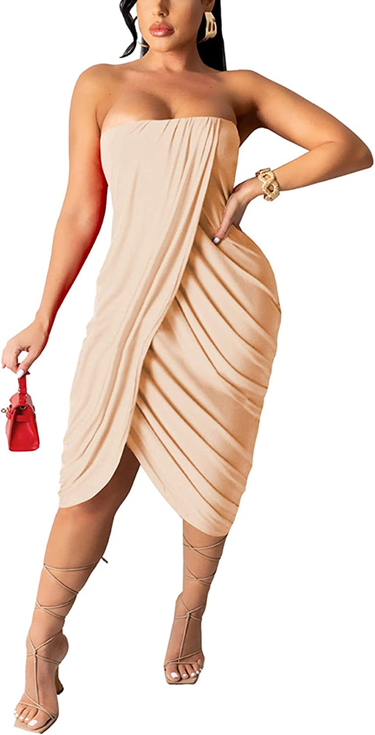 Women's Sexy Tube Dress Summer Strapless Ruched Wrap Bodycon Party Club Dresses