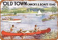 オールドタウンカヌー&ボート-ブリキの看板ヴィンテージノベルティ面白い鉄の絵の金属板