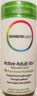 Rainbow Light Active Adult 50+ Multivitamins with Coq10, 50 Tablets
