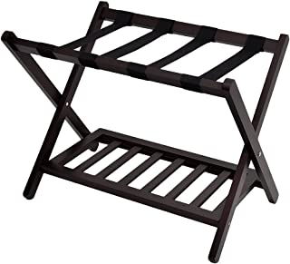 WELLAND Wood Folding Luggage Rack with Shelf (Espresso)