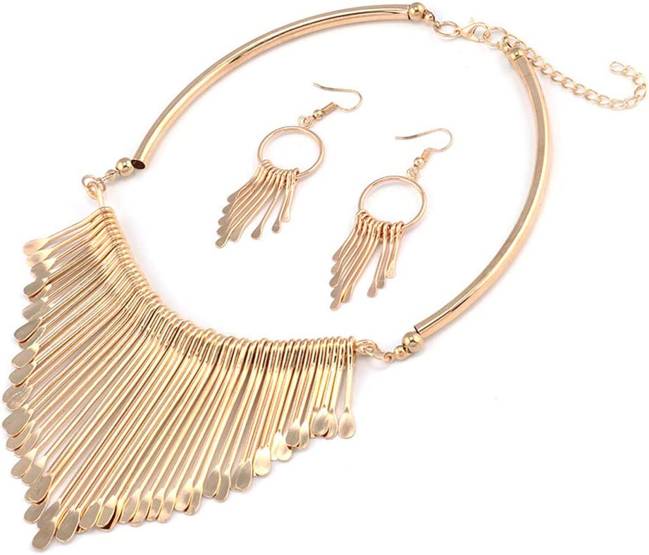 Jurxy Statement Bib Necklace with Metal Fringe Drop Choker Necklace Earrings Set Tassel Collar Novelty Jewelry Bohemian Punk Ethnic Style for Women and Girls – Gold