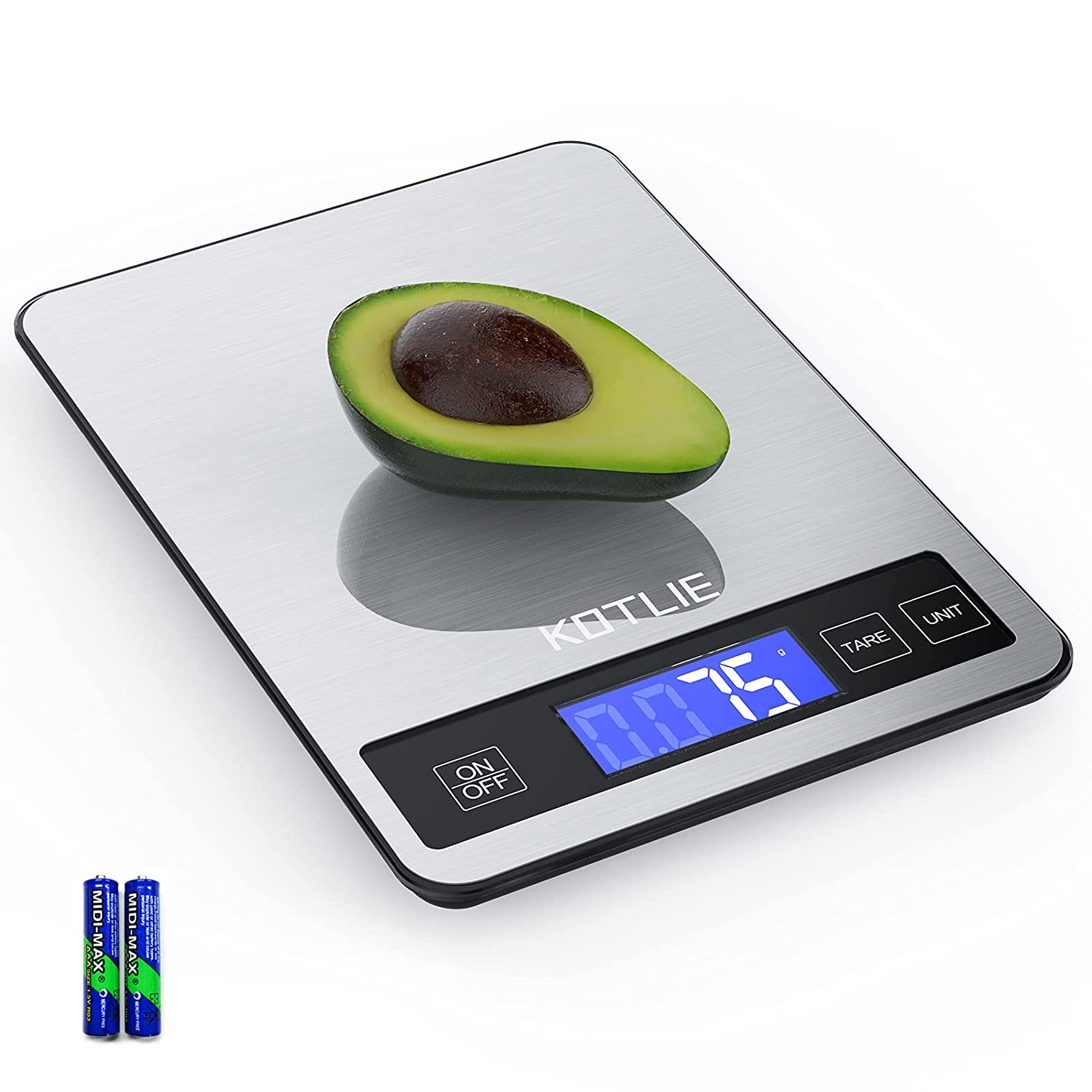 Food Scale, KOTLIE 33lb/15kg Digital Kitchen Scale Weight Grams and Oz for Baking & Cooking, 1g/0.05oz Accurate Stainless Steel Precision Scales with Tare Function, Easy to Clean(2AAA Battery Include)