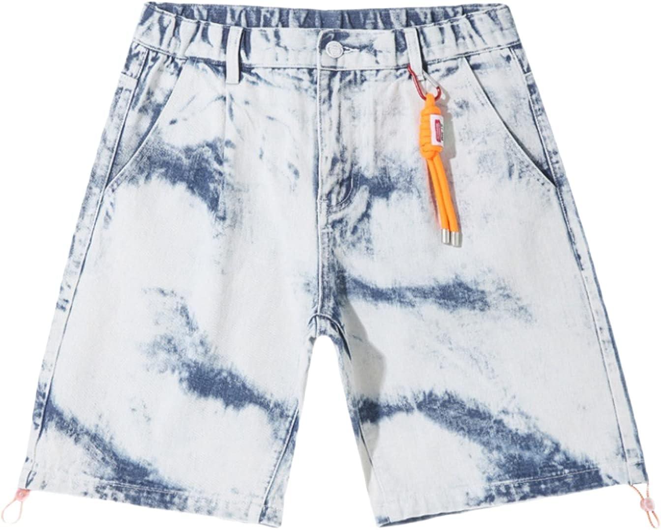 Men's Casual Fashion Tie-dye Denim Short Loose Large Size Comfortable Jean Shorts Printed Retro Street Trend Shorts (Blue,3X-Large)