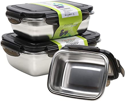 Stainless Steel Food Storage Containers with Lids - Bento Lunch Box for Kids Adults 3 Piece Set (12oz, 18oz, 28oz) - Leak Proof Sandwich Meal Prep Lunch Containers - Oven, Freezer and Dishwasher Safe