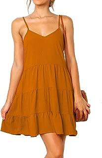 Women's V Neck Ruffle Dress Sleeveless Spaghetti Straps Loose Mini Dresses