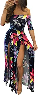 Women Sexy Maxi Romper Dresses - Floral Off Shoulder Short Jumpsuits Summer Dress High Slit Navy Blue XL