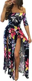 Women Sexy Maxi Romper Dresses - Floral Off Shoulder Short High Slit Jumpsuits Summer Dress