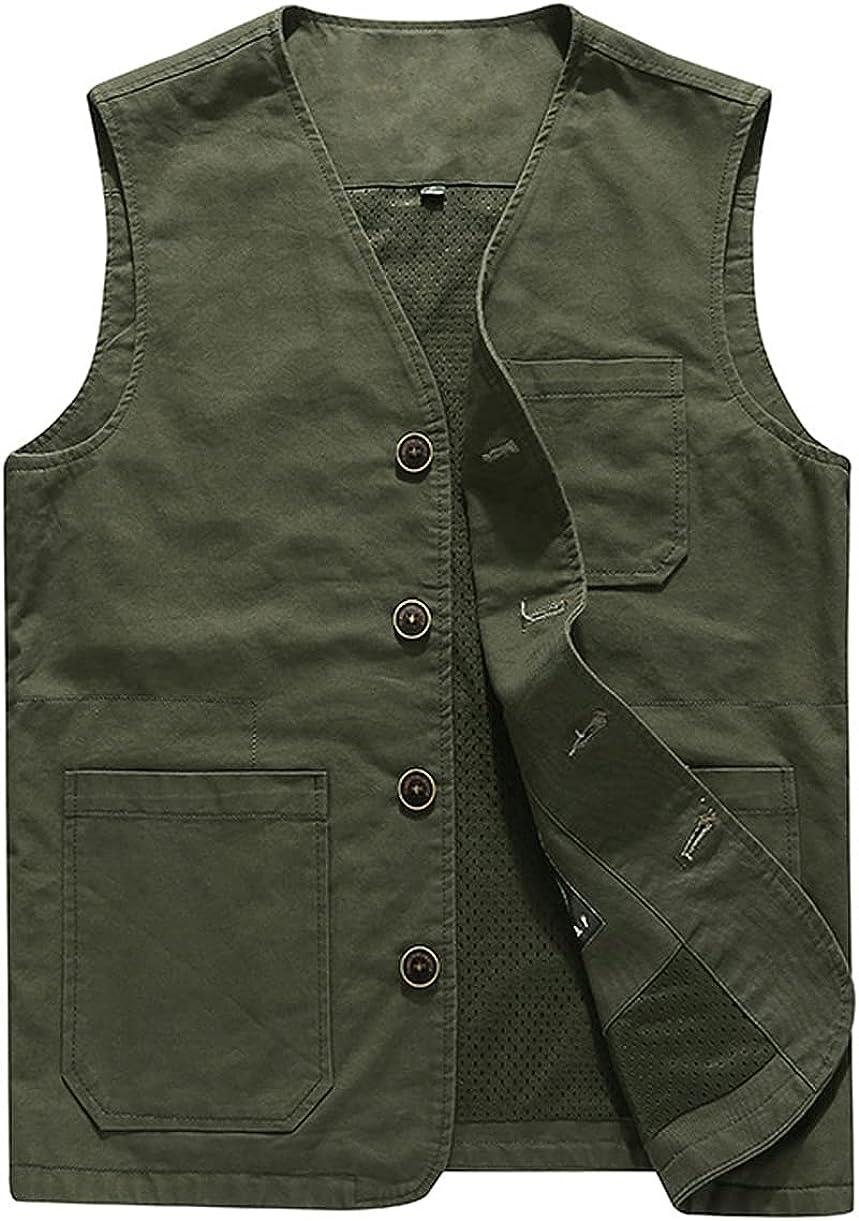 chouyatou Men's Casual Outdoor Thin/ Fleece Lined Fishing Cotton Vest Jacket