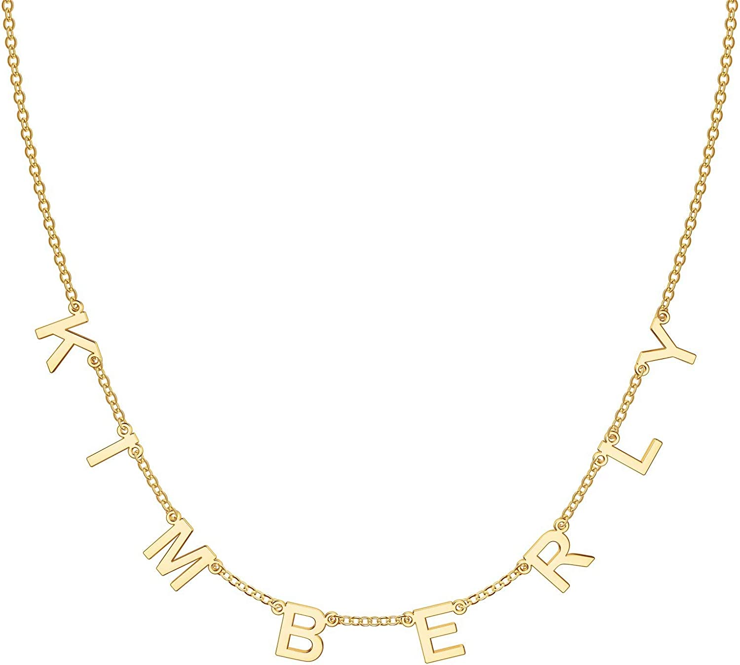 IEFSHINY Dainty Personalized Spaced Name Necklace, 14K Gold Plated Chain Dangle Letter Nameplate Choker Necklace Custom Spaced Letter Necklace with Hanging Name Jewerly Gifts for Women Girls Kids