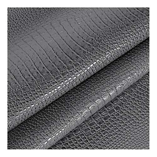 NAKAN 138x100cm PU Tela de Imitación de Cuero Patrón de Cocodrilo Tela de Tapicería para Funda de Asiento de Silla De Sofá, Manualidades DIY(Color:gray13)
