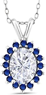14K White Gold Pendant Forever Classic Oval 1.50ct (DEW) Created Moissanite by Charles & Colvard and Simulated Sapphire