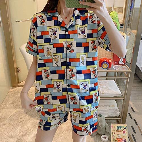 Sommer Kurzarm Seide Pyjama Set Turn-Down Kragen Nachthemd Nette Cartoon Nachtwäsche Shorts Frühling Homewear-H_M.