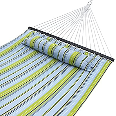 SUPER DEAL Hammock Quilted Fabric Double Size Spreader Bar Heavy Duty Portable Outdoor Camping Hammock 480lbs Capacity
