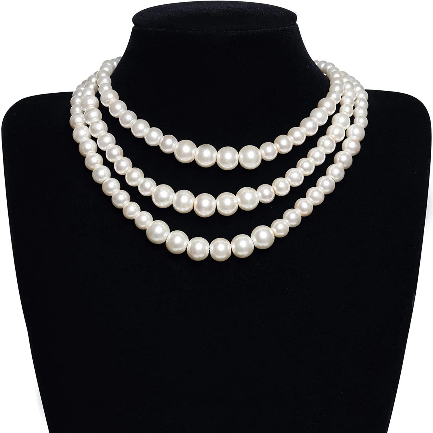 BABEYOND Round Imitation Pearl Necklace Vintage Multi Strands Necklace 20s Flapper Necklace for Party
