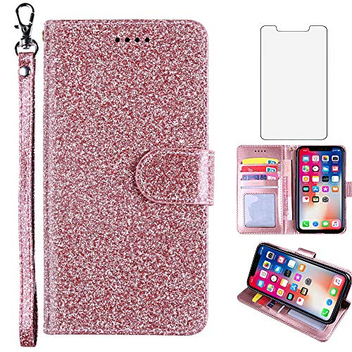 Asuwish Compatible with Samsung Galaxy S6 Edge Plus Case Tempered Glass Screen Protector Cover and Card Holder Slot Kickstand Glitter Wallet Phone Cases for Glaxay S6edge + S 6edge 6s 6 Edge+ Pink