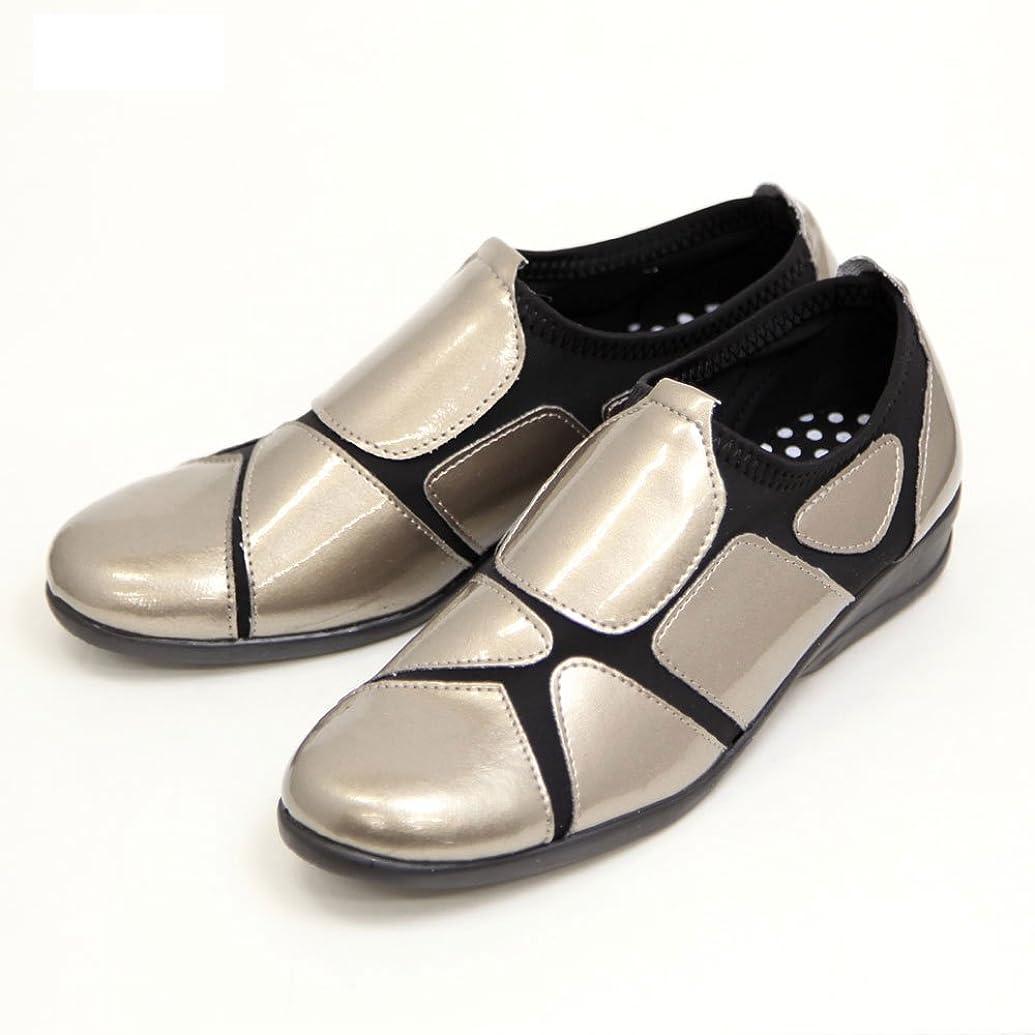機密生命体上げる[Popolare] ストレッチシューズ レディース 歩きやすい 外反母趾 靴 ウォーキングシューズ エナメルSC1802 シルバー LLサイズ