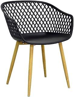 ZONS Noir Tango CHAISES Design Pieds en Metal Imitation Bois, Lot DE 1