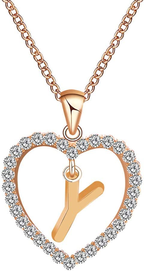 A,Rose Gold 1 LLLCCC Women Girls Tiny Love Heart Initial Letter Necklace Alphabet A-Z Personalized Name Pendant Choker Necklaces