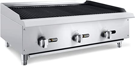 Chef's Exclusive CE779 Commercial Countertop Stainless Steel 36 Inch Char Rock Char Broiler Charbroiler Grill Natural Gas, 105,000 BTU Per Hour 30KW, Metallic