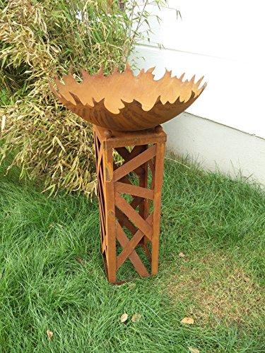 Zen Man Garteninspiration Feuerschale 50cm 1mm mit Ständer/Konus H60cm aus Naturrost