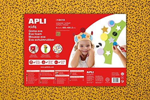 APLI Kids 13410-Goma EVA impresa leopardo 600 x 400 mm 3 hojas