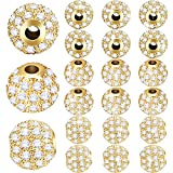 20 Pieces 8 mm Zirconia Cubic Beads, Round Rhinestone Bracelet Spacer Charms,Crystal Zirconia Stones, Ball Beads for Jewelry Making DIY (Gold)