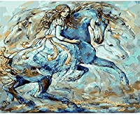 DIY 5Dダイヤモンド塗装キット、フルダイヤモンドラウンドラインストーン刺繍、家の壁の装飾、油絵風馬と少女30x40cmに使用