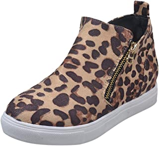 〓COOlCC〓Women Fahsion Wedge Sneaker Shoes Side Zipper, Wedge Ankle Booties Walking Shoes - Athletic Casual Flat Shoes