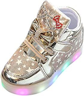 Amiley PU Leather Bling Bling Sneakers Star Luminous Colorful Light Shoes