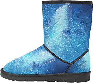 Artsadd Fashion Women's Shoes Santa Claus with Deer High Top Womens Snow Boots