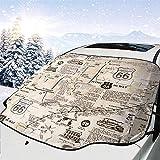 c-sky Timeless Treasures Route 66 Tessuto Naturale Parabrezza per Auto Neve Ghiaccio Copertura antigelo Protezione Parasole