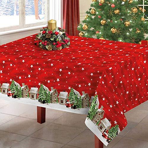 Centesimo Web Shop TOVAGLIA Natalizia in 3 Misure Invernale Inverno Neve Natale Rossa Stelle - Rosso - 140x240 cm