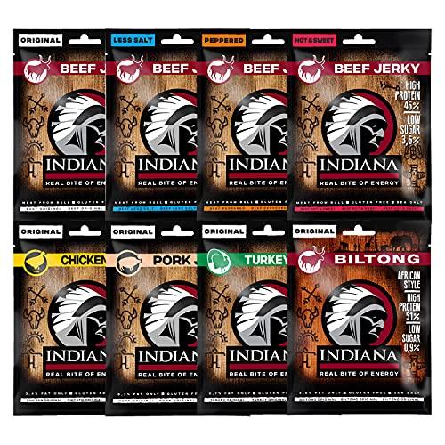 Indiana Jerky MIX, High Protein Trockenfleisch, ohne Zuckerzusatz, Gluten-frei (8 x 25g) (8 Sorten MIX)