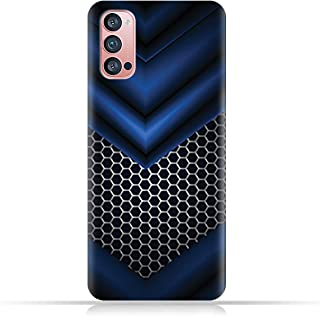 AMC Design TPU Mobile Case Cover for Oppo Reno4 Pro 5G with Abstract Blue Mesh Pattern