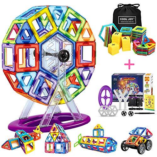 Flyfun Blocchi Magnetici, 117 Pezzi Magnetici Blocchi Costruzioni Giocattolo, Giocattoli Educativi per Bambini Kit, Giocattolo Creativo per i Bambini Oltre 3 Anni Ferris Wheel/Car/Robot