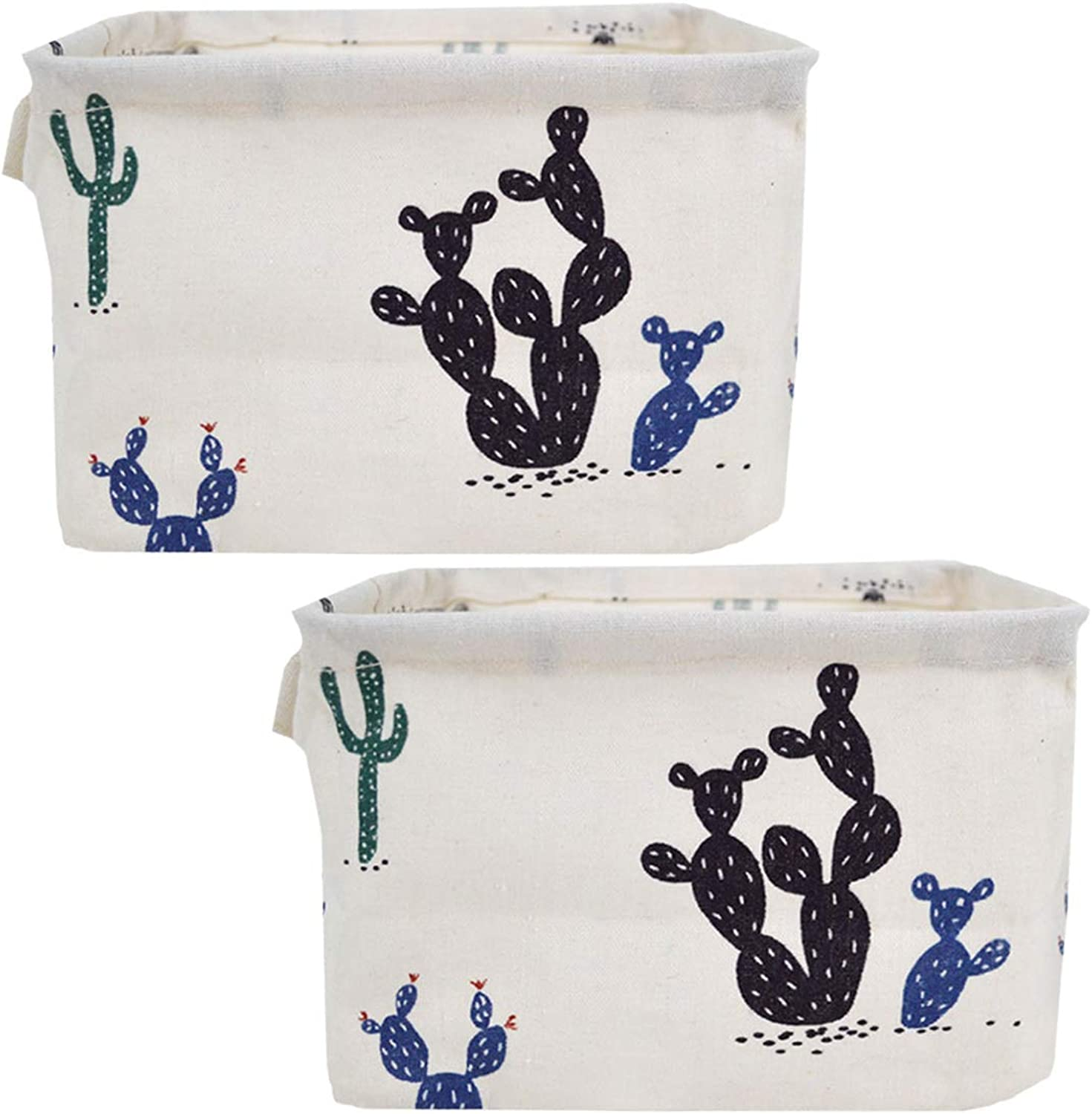 Danse Jupe 2 Pack Small Foldable Storage Bins Baskets Home Decor Cartoon Cloth Storage Box Organizers for Baby Toys,Stationery,Office Supplies(Black Cactus)