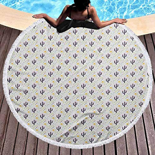 Premium Beach Towel Cactus Popular Handicrafts Beach Towel Cacti Silhouettes with Stripes and Sun Motifs Background Succulent Plants Pattern Lightweight, Fast Dry Towels, Sand Free (Diameter 59')