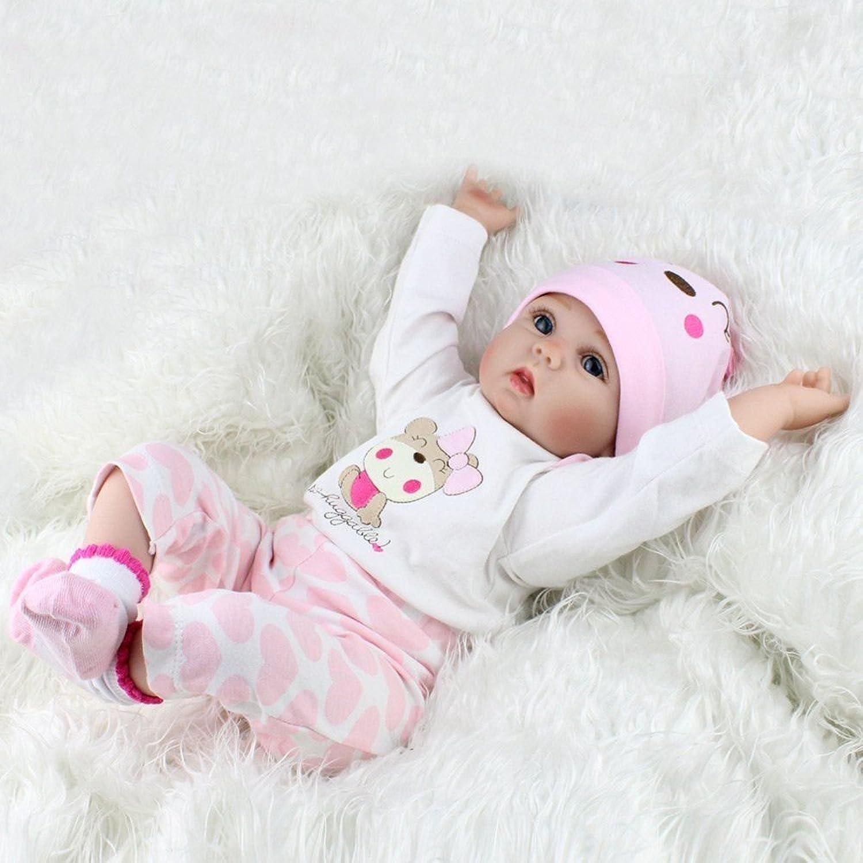 ZIYIUI Reborn Dolls 22 inch Reality Show Reality Sweet Smile Reborn Doll Handmade Silicone Vinyl Newborn Doll