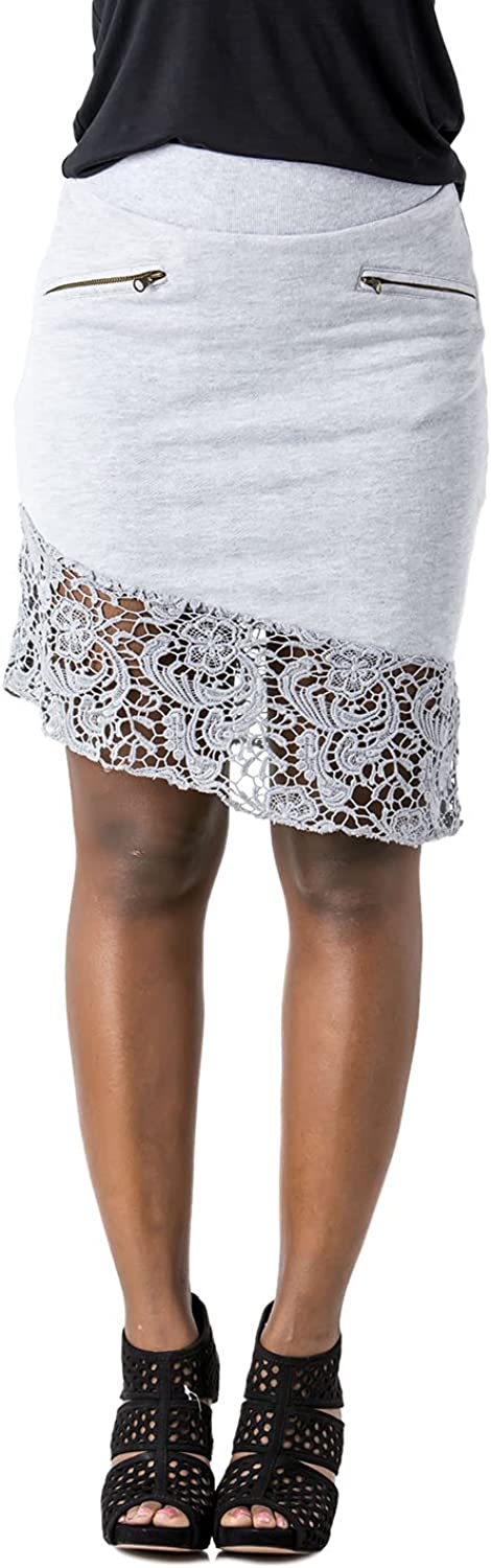 Poetic Justice Curvy Womens Grey French Terry Cluny Lace Hem Asymmetrical Skirts