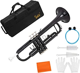 GLARRY Standard Trumpet Brass Bb Trumpet for Students and beginners w/Hard Case, Gloves, 7C Mouthpiece and Trumpet Cleanin...