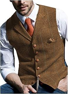 JinXuanYa Mens Tweed Check Waistcoat Wool Herringbone Casual Suit Waistcoat Notch Collar Classic Slim Fit for Party Grooms...