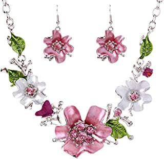 NiceWave Women Alloy Drip Rhinestone Flower Bib Necklace & Earring Sets Exquisite Dangle Necklace Earring 1set Beautiful jewelry
