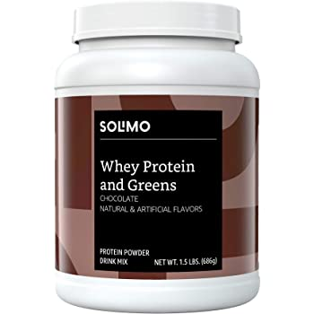 Amazon Brand - Solimo Whey Protein & Greens Blend, Chocolate, 1.5 Pound
