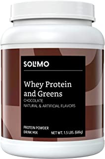 Amazon Brand - Solimo Whey Protein & Greens Blend, Chocolate, 1.5 Pound